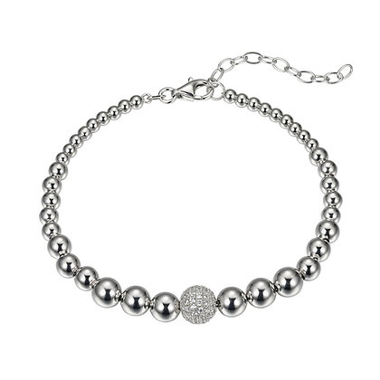 Silver Bead Bracelet With Cubic Zirconia Pave Bead