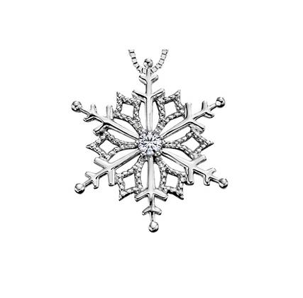 White Gold Snowflake Pendant With Canadian Diamond