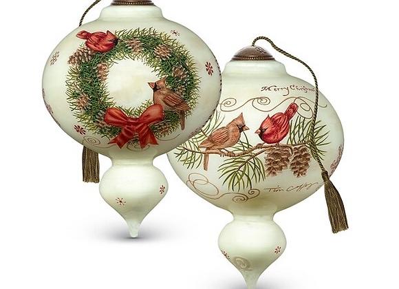 """Joyeux Noel"" Cardinal Wreath Ornament"