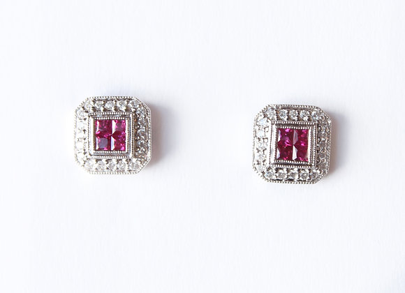 Princess Cut Ruby & Diamond Halo Studs