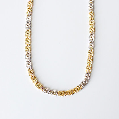 """Two Tone Gold Curb Link Chain (20"""")"""