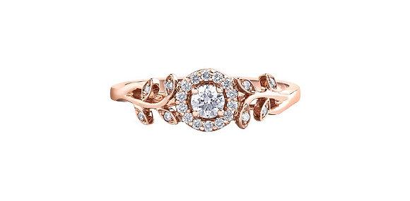 Rose Gold Decorative Leaf Engagement Ring