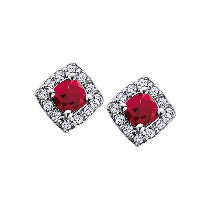 Ruby Cushion Earrings with Diamond Halo