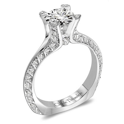 Claude Thibaudeau Round & Pave Diamond Engagement Ring