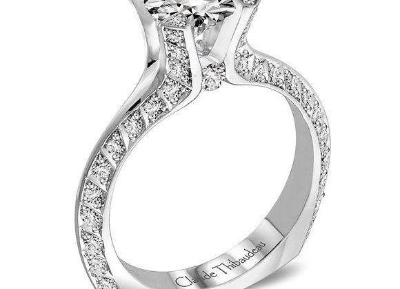 Claude Thibaudeau Round & Pave Diamond Engagement Ring