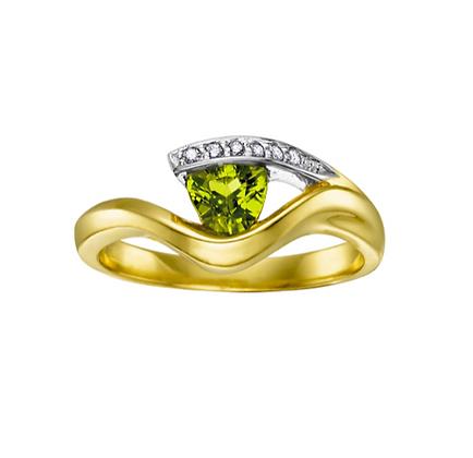 Trillion Cut Peridot & Diamond Ring