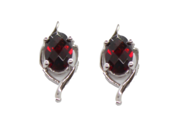 Oval Garnet Studs With White Gold Detailing
