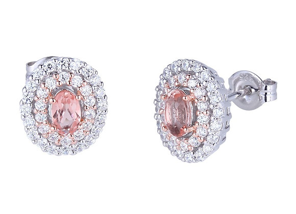 Silver Double Halo Morganite Earrings