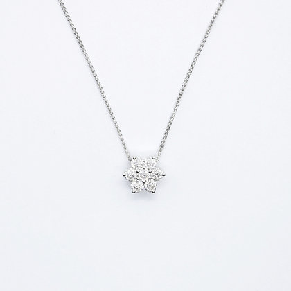 White Gold Diamond Flower Pendant