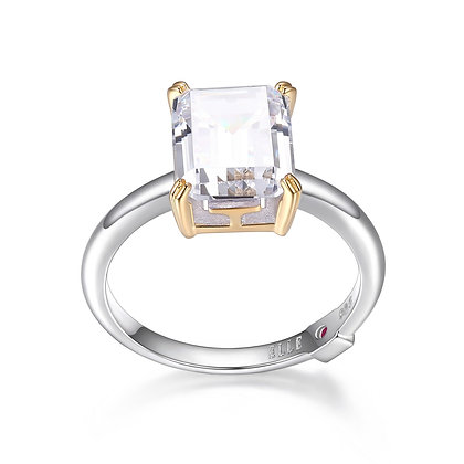 Silver & Yellow Gold Plated Emerald Cut Cubic Zirconia Ring