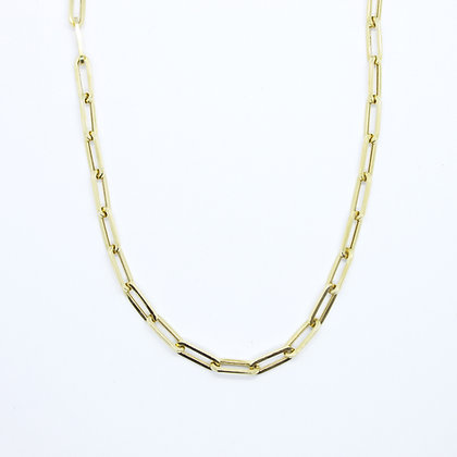 """Yellow Gold Paperclip Chain Necklace (20"""")"""