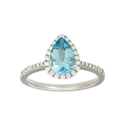 Pear Cut Aquamarine & Diamond Halo Ring