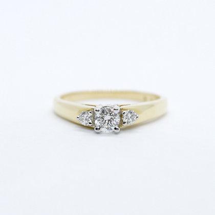 Yellow Gold Round Diamond Trinity Engagement Ring