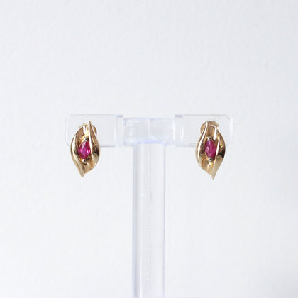 Marquise Cut Ruby Stud Earrings