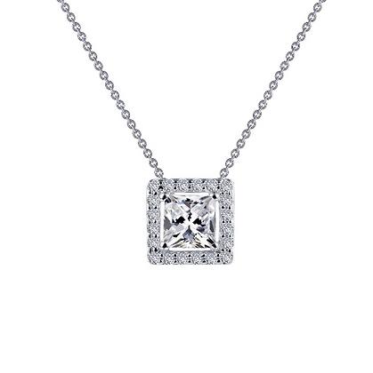 Silver Princess Cut Simulated Diamond Pendant With Halo