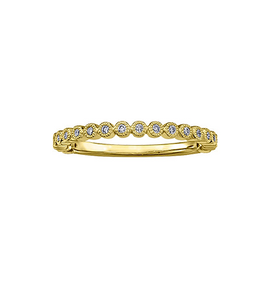 Yellow Gold Round Diamond Stackable Ring