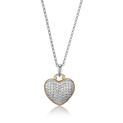 Two Tone Heart Cubic Zirconia Locket