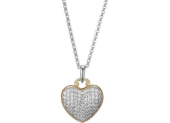 Two Tone Heart Cubic Zirconia Locket
