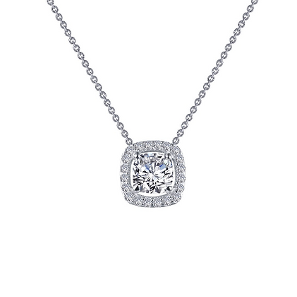 Silver Cushion Cut Simulated Diamond Pendant With Halo