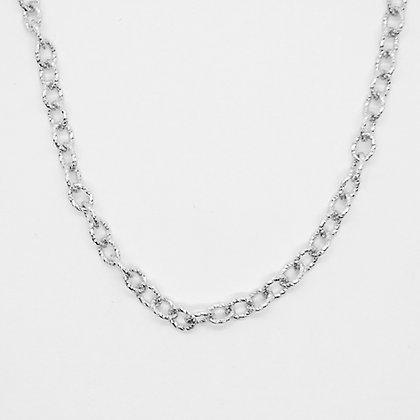 "White Gold Textured Rolo Chain (18"")"