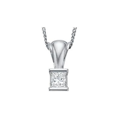 Princess Cut Canadian Diamond Tension Set Pendant (0.14 carat)