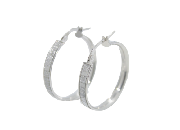 Square Diamond Detailed Hoops