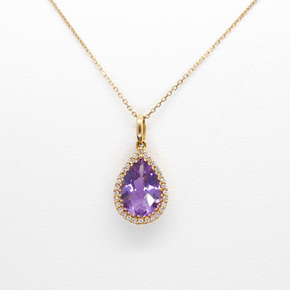 Pear Cut Amethyst Pendant With Diamond Halo