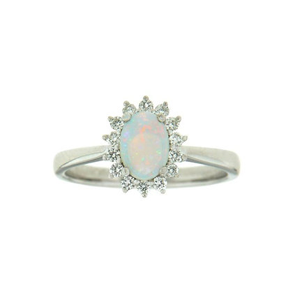Oval Opal & Starburst Diamond Halo Ring