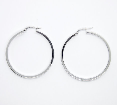 White Gold Thin Round Hoops (40mm)