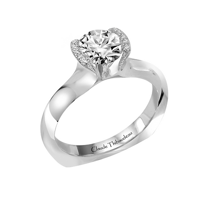 Claude Thibaudeau Round Solitaire Ring With Pave Setting