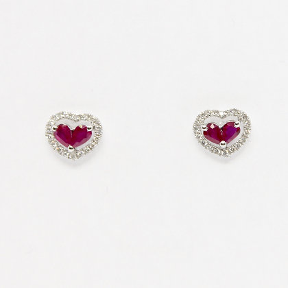 Heart Shaped Ruby Earrings With Diamond Halo