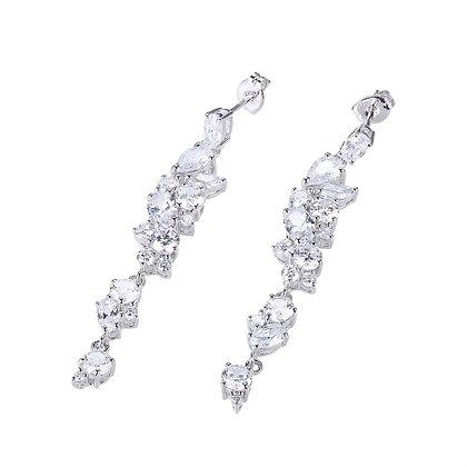 Silver Multishape Cubic Zirconia Cluster Earrings