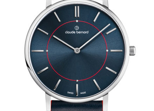 Navy Leather & Dial Watch by Claude Bernard