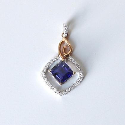 Princess Cut Iolite & Diamond Pendant
