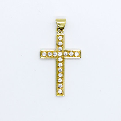 Yellow Gold & Cubic Zirconia Cross Pendant (20mm)