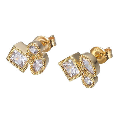 Yellow Gold Plated Cluster Stud Earrings