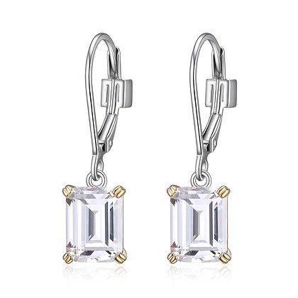 Silver & Yellow Gold Plated Emerald Cut Cubic Zirconia Earrings