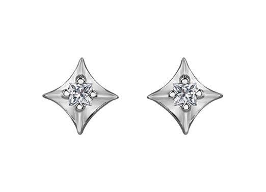 White Gold Diamond Shaped Canadian Diamond Studs