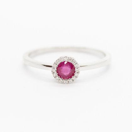 Round Ruby Ring With Diamond Halo