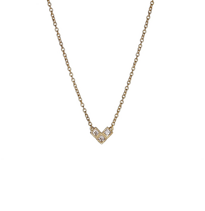 Yellow Gold Plated Square Cubic Zirconia Necklace
