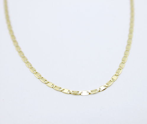 "Yellow Gold Flat Marine Link Chain (19"")"