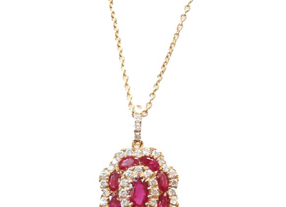 Flower Shaped Ruby & Diamond Pendant