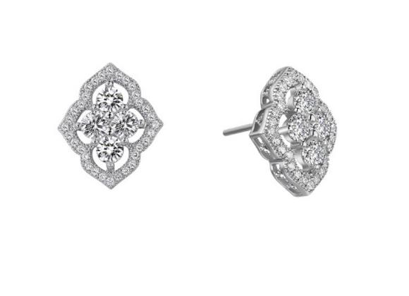 Silver Fancy Stud Earrings with Floating Halo