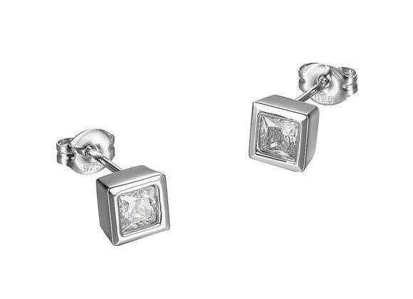 Silver Princess Cut Bezel Set Studs