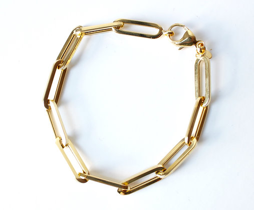 """Yellow Gold Paperclip Chain Bracelet (8"""")"""