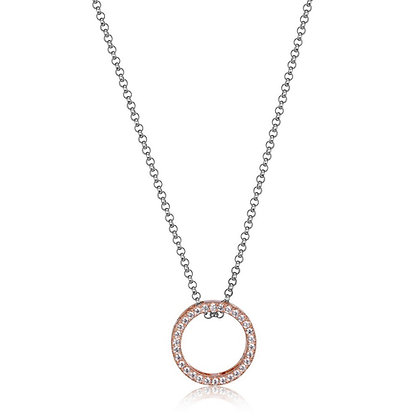 "ELLE Sterling Silver and Rose ""Circle of Love"" Pendant"