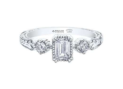 Canadian Emerald Cut Diamond Engagement Ring