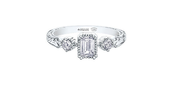 Canadian Emerald Cut Diamond Engagement Ring