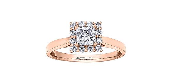 Rose Gold Princess Cut Halo Diamond Ring