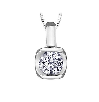 Tension Set Round Canadian Diamond Solitaire Pendant